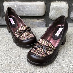 Tweed & Leather Loafers EUC Candies sz 7